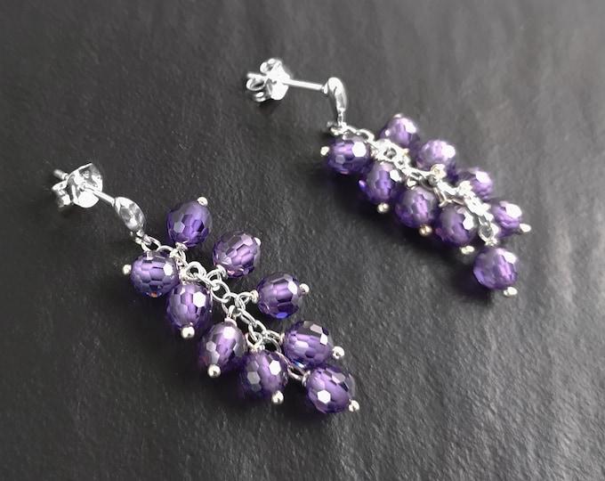 Purple crystal earrings, sterling silver, teardrop purple berry grape stones bunch earrings, dark violet berries color, modern chain jewelry
