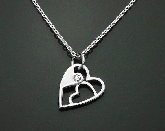 Modern Heart Necklace, Sterling Silver, Lab Diamonds simulant (CZ), Graphic Design Heart Charm, Love Jewelry