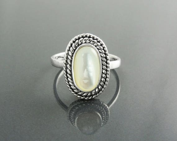 Antique Pearl Ring, Sterling Silver, GENUINE Mother of Pearl Jewelry, Dainty Oval White MOP Stone Ring, Vintage Rope Textured Border Ring