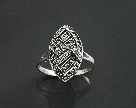 Antique Marcasite Ring, Sterling Silver, Vintage Marcasites Ring, Braided Graphic Design, Retro Art Deco, Roaring Twenties Inspired Jewelry
