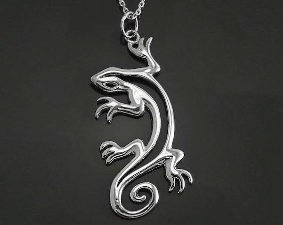 Large Lizard Necklace, Sterling Silver, Gecko Reptilian Jewelry, Reptile Lovers, Modern Hawaiian Surfer Lizard, Polynesian Tattoo Necklace