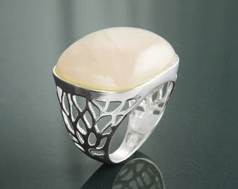 Pink Square Ring, Sterling Silver, NATURAL Rose Quartz Stone, Modern Statement Crystal Gemstone Ring, Bold Filigree Design Jewelry, Gift