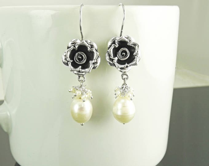 Rose earrings, Sterling Silver, Genuine White Natural Fresh Water Pearl, Roses Flower Dangle Earrings, Vintage Antique Rosebuds, Gift