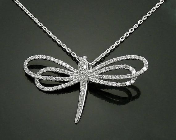 Dragonfly Necklace, Sterling Silver, Lab Diamonds simulant (CZ), Unique Dragonflies Design Charm, Nature Jewelry, Charm Necklace