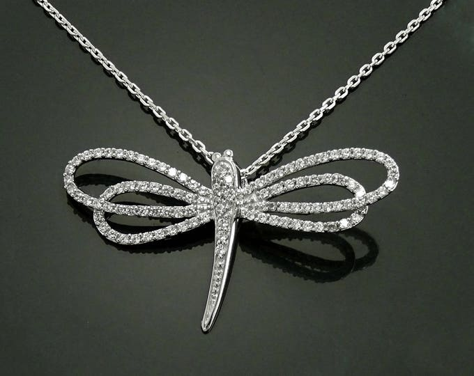 Dragonfly Necklace, Sterling Silver, Lab Diamonds simulant Stones (CZ), Unique Dragonflies Design Charm, Nature Bugs Jewelry, Charm Necklace