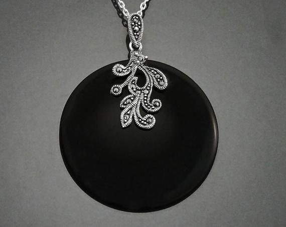 Elegant Marcasite Necklace, Sterling Silver, Genuine Black Onyx Gemstone Jewelry, Vintage Art Deco Marcasites Charms, Retro Inspired Jewelry