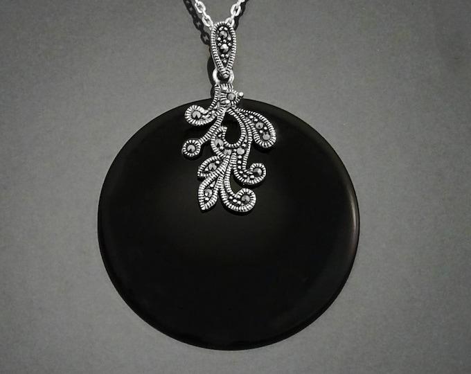 Elegant Marcasite Pendant, Sterling Silver, Genuine Black Onyx Gemstone Jewelry, Vintage Art Deco Marcasite Charms, Retro Inspired Jewelry