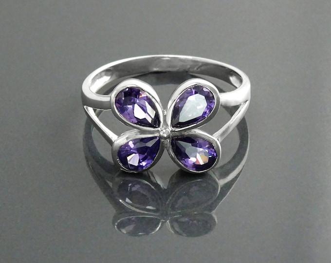 Modern Amethyst Ring, Sterling Silver, Lab Amethyst Color Stone (CZ), Modern Flower Petal Ring, Minimalist Clover Ring for Woman