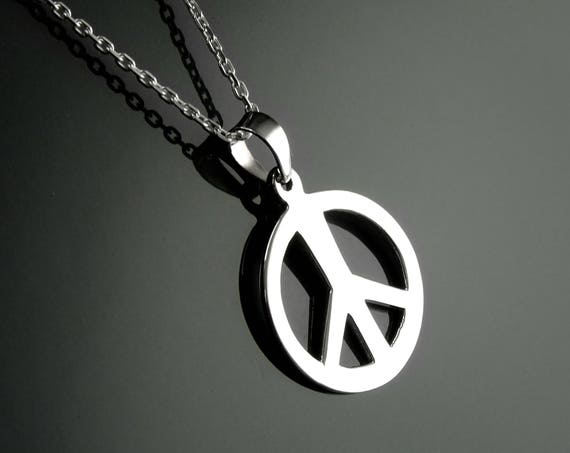Peace and Love Necklace, Sterling Silver, Pendant Sign Love and Peace, Peace Necklace, Boho Necklace, Charm, Hipster Jewelry, Unisex