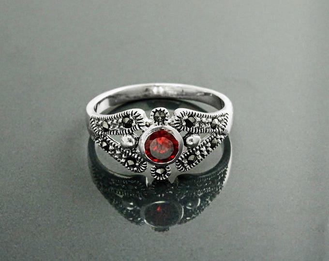 Garnet Marcasite Ring, Sterling Silver, Vintage Garnet Ring, Lab Red Garnet Simulant, Retro Maroon Stone Rings, Dainty Rings, Women Gifts