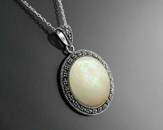 Round Pendant Necklace, Sterling Silver, Genuine Mother of Pearl, Vintage Art Deco Marcasites Jewelry, Marcasite Round Charms, Retro Jewelry
