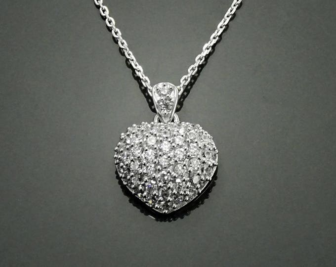 Heart Necklace, Sterling Silver, 3.9ct Cz Clear stones, Pendant for Necklace, Love Necklace, Love Charm, Valentine's Day Gifts