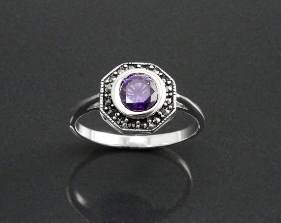 Amethyst Marcasite Ring, Sterling Silver, Vintage Octagonal Ring, Lab Purple Amethyst Simulant, Dainty Retro Violet Stone Rings, Women Gifts