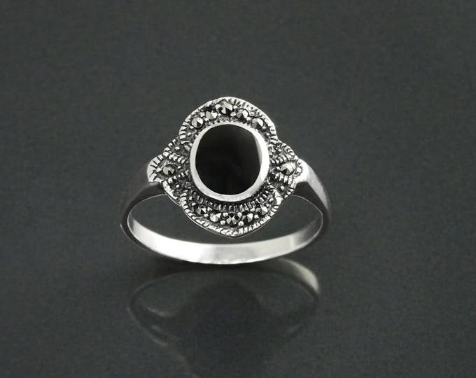 Black Stone Ring, Sterling Silver ring with flat Oval Black Onyx and Marcasite Stones, Vintage Art-Deco Design Jewelry