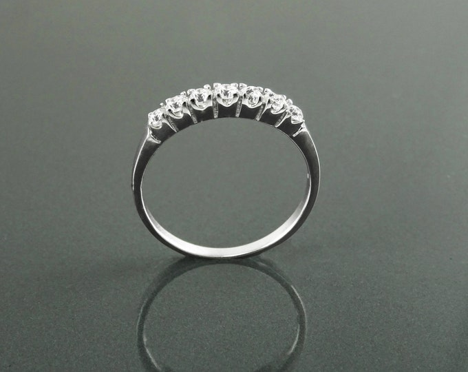 Half Eternity Ring, Sterling Silver, Stacking Third Eternity Stone Band, Promise Engagement Band, White Clear Sparkling stones (Cz) Jewelry