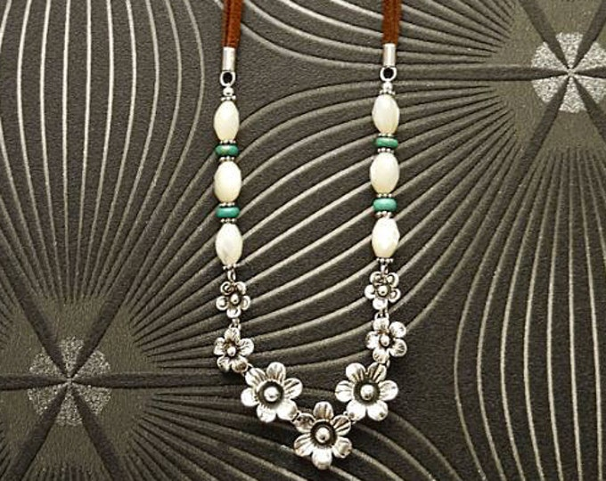 Flowers Necklace, Sterling Silver, Brown Leather Cord, White Oval Shell and Turquoise Beads, Boho Country Flower Engraved Design