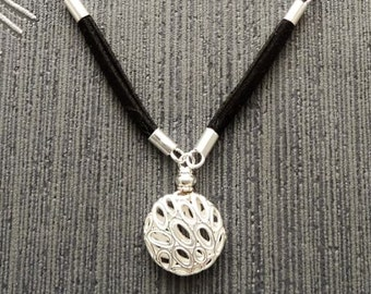 Ball Necklace, Silver ball pendant, Black, Leather Necklace, Sterling Silver, Lace, Silver Ball, Openwork Pendant, Filigree Boho Necklace