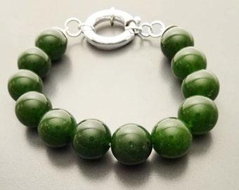 Green Balls Bracelet, Sterling Silver Spring Clasp, Genuine Green Agate Sones Beads, Gemstone Beaded Bracelet, 10mm Diameter Stone ball