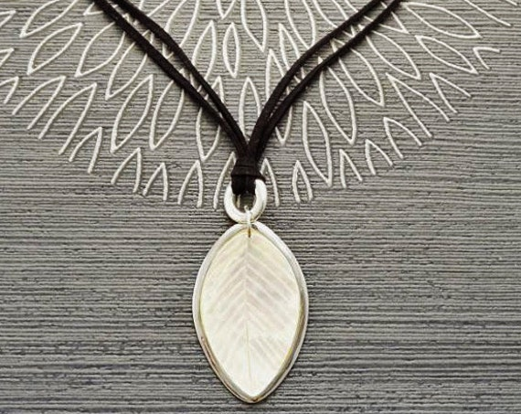 White Mother of Pearl, Leaf Necklace, Genuine MOP, Sterling Silver Pendant, Black Leather, Veins Laurel Leaf, Nature Jewelry Autumn Branch