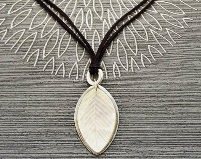 Leaf Necklace, Genuine White Mother of Pearl,  Sterling Silver Pendant, Black Leather, Veins Laurel Leaf, Nature Jewelry Autumn Branch