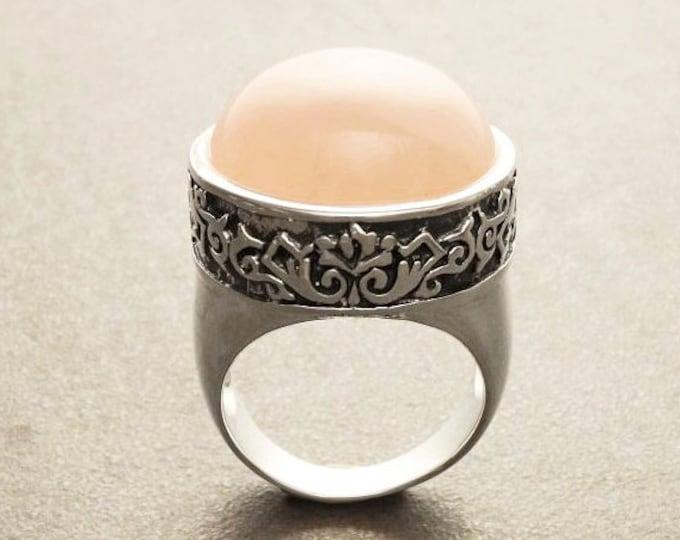 Victorian Round Ring, Sterling Silver, Round Rose Quartz Domed Gemstone Jewelry, Statement Pink Vintage Baroque Steampunk Designed Pattern