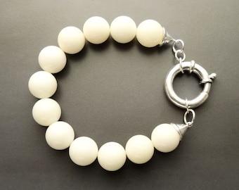 White Stones Bracelet, Sterling Silver, Genuine White Agate Stone Beads Bracelet, 10mm Stone balls, Spring Ring Clasp, Modern Woman Bracelet