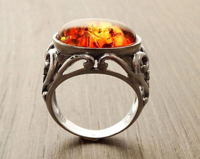 Amber Ring, Sterling Silver, Boho Vintage Design Jewelry, Horizontal Oval Stone, Genuine Amber Gemstone, open-work Lace Filigree Setting