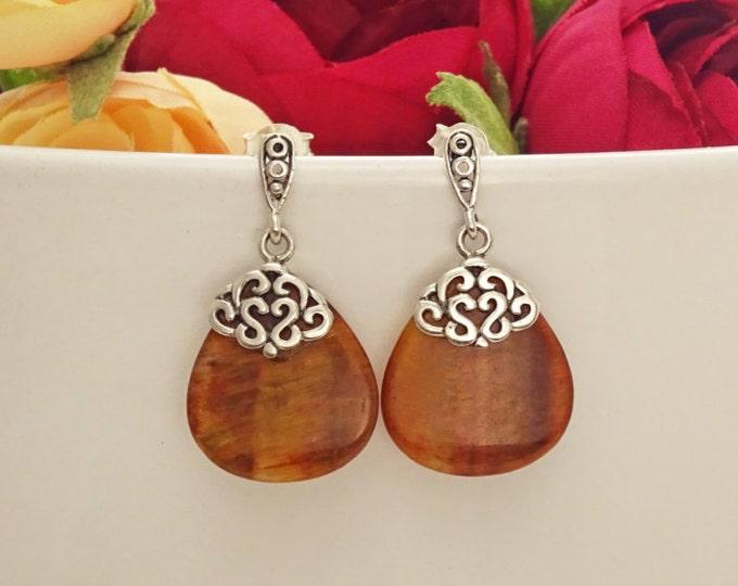 Brown Stone Earrings, Sterling Silver, Genuine Red Tiger Eyes Stones, Dangle Teardrop Oval Shape, Vintage Antique Filigree Design Jewelry