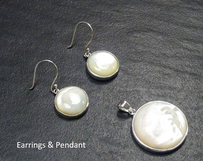 White Round Earrings set, Sterling silver, Natural White Mother of Pearl Shell, Geometric Minimalist Design Stone Jewelry, Woman Gift