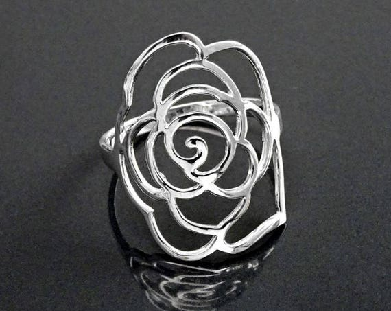 Rose Filigree Ring, Open Work Ring, Floral Ring, Sterling Silver 925, Flower Jewelry, Cuff Ring, Large Lace Ring, Original Engagement Gift