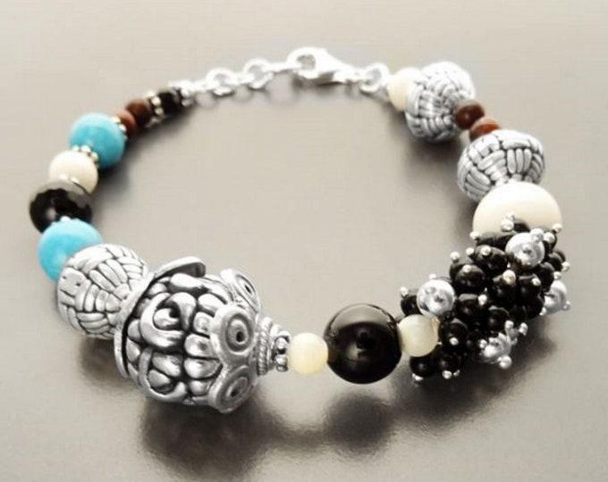 Boho Turquoise Bracelet  - Sterling Silver - Tibetan Gemstone Beads - Indie Bracelet - Boho Bracelet - Hipster Bracelet - Gypsy Bracelet