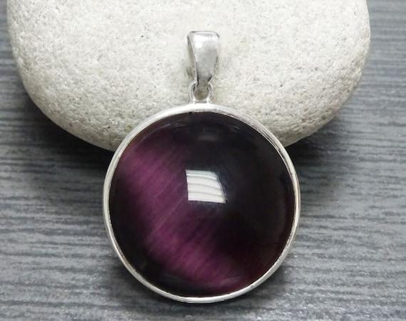 Purple, Cat's Eye, Stone, Sterling Silver,Jewelry, 925, Statement, Modern, Urban, Simple, Minimalist, Sterling Jewelry, Gift, News, Novelty.