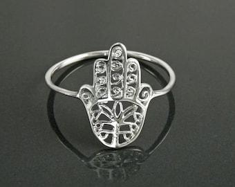Hamsa Ring, Sterling Silver, Good Luck, Hand of Fatima Ring, Dainty Midi Ring, Hand of God, Filigree Hamsa Ring, against evil eye Ring