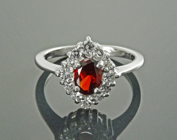 Red Marquise Ring, Sterling Ring, Lab Red Ruby simulant (CZ), Lab Diamonds simulant (CZ), Cluster Ring, Engagement Ring, Valentines Day Gift