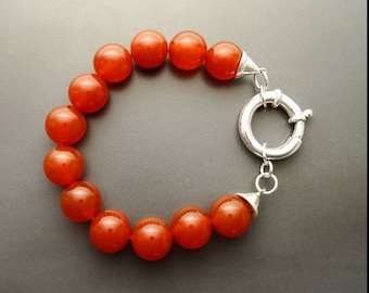 Red Stone Bracelet, Sterling Silver Clasp, Red Agate Stones, Beaded Ball Bracelet, 10 mm diameter balls, Women Round Bracelet.