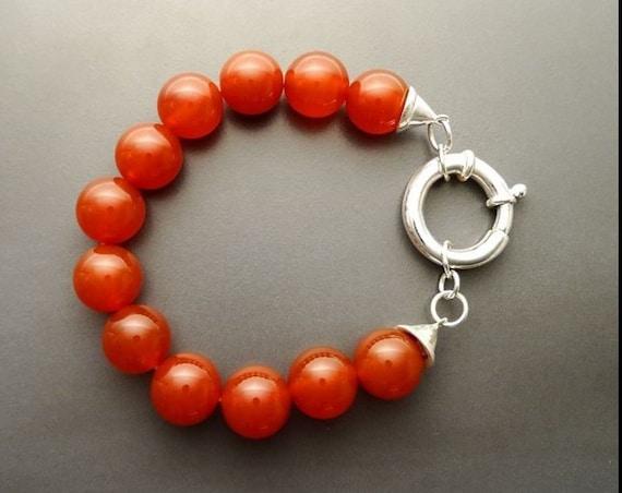 Red Gemstone Bracelet, Red Agate, Beaded Bracelet - 10 mm balls - Sterling Silver Spring Ring Clasp - Red Gemstone, Women Red Bracelet.