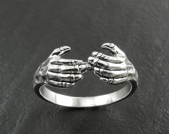 Hands Ring, Sterling Silver Jewelry, Wrap Hug Ring Around, Enclosing Embracing Hand, Grasped, Gripped Fingers Ring, Grabbed Hands Ring