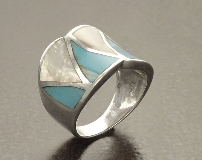 Turquoise  Ring, Sterling Silver, Crossing Blue Turquoise Stone Ring, White Mother of Pearl Shell, Geometrical Framed Design Stones Jewelry