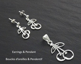 Cherry Earrings Set, Sterling Silver, Cherries Earrings and Pendant Set, Nature Jewelry, Fruit Jewelry, Modern Original Earrings set