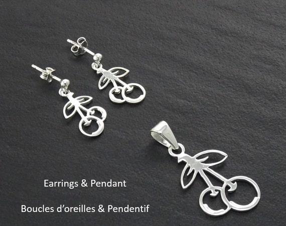 Cherries, Earrings and Pendant Set, Sterling Silver, 925, Cherries Set, Cherries Jewelry, Silver Jewelry, Teens Jewelry, Modern, Original.
