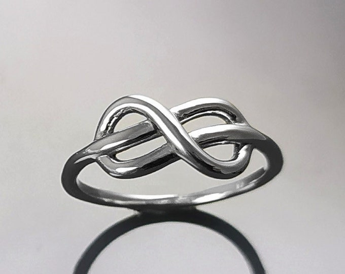Knot Bangle Ring, Sterling Silver, Celtic Promise Ring, Norse Celtic Crossing Band, Infinity Ring, Sign of Eternal Love or Friendship Gift