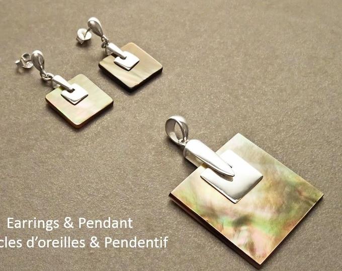 Square earrings, Sterling Silver, GENUINE Grey Paua Shell Dangle Earrings and Pendant SET, Modern Geometric Minimalist Design Jewelry