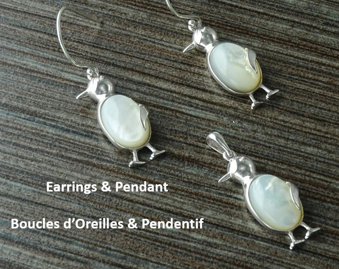 Penguin Earrings and Pendant, Sterling Silver, Bird, Jewelry, White Mother of Pearl Shell, Dainty stone Animals, Women, 925, FAST SHIPPING.