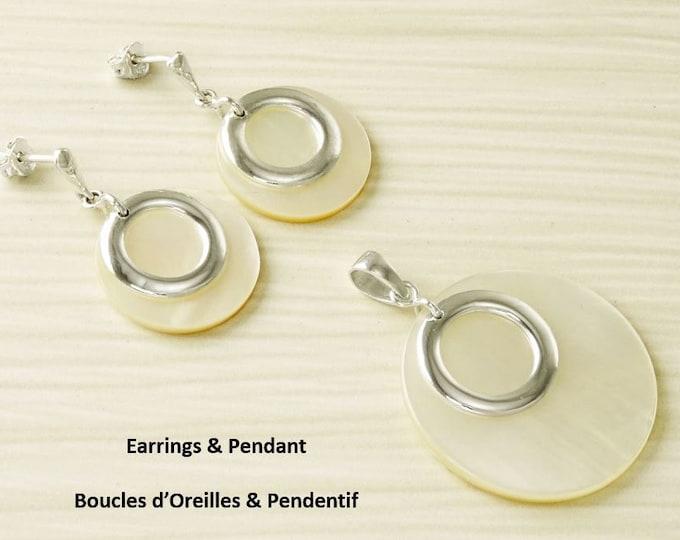 White Round Earrings, Sterling Silver, Mother of Pearl Shell Flat Disc Pendant Set, Modern Minimalist Dangle Earrings, Geometric Necklace