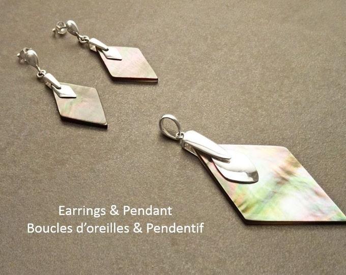 Gray Earrings Set, Sterling Silver, Diamond Square Shape Stone, Genuine Grey rainbow Paua Shell, Modern Minimalist Geometric Stone Jewelry