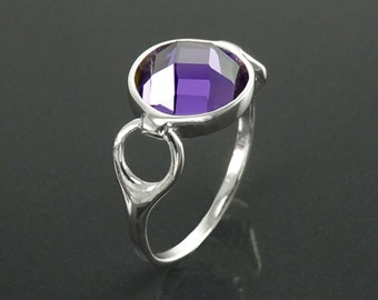 Purple Stone Ring, Sterling Silver, Amethyst Color Stone (CZ), Unique Faceted Round Stone, Original Solitaire Violet Stone Jewelry