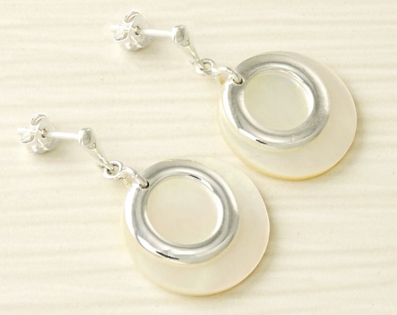White Dangle Earrings , Sterling Silver, Mother of Pearl, MOP, Women, Jewelry, Everyday, Round, Circle, Small, Minimalist, New Item, Gift