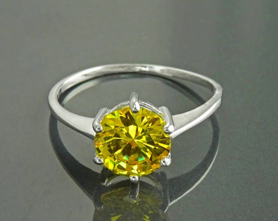 Yellow Stone Ring,  Sterling Silver, 925, 8mm Unique Lab Citrine Simulants (CZ) Stone, Modern Design Jewelry, Women Ring, Size Plus Ring