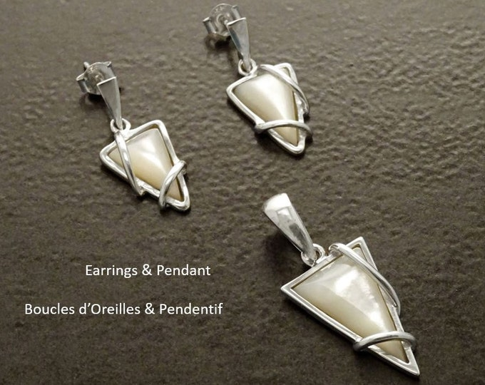 Triangle Earrings, Sterling Silver, White Shell Jewelry- Modern Style - Geometric Earrings and Pendant Set for Women