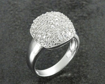 Cushion Ring, Sterling Silver, Bright Clear White Stones (CZ) Ring, Square Stone Ring